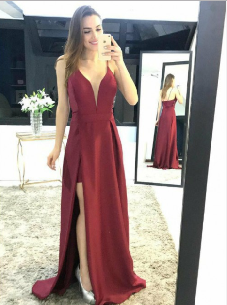 spaghetti straps burgundy side slit simple cheap prom dress,HB52