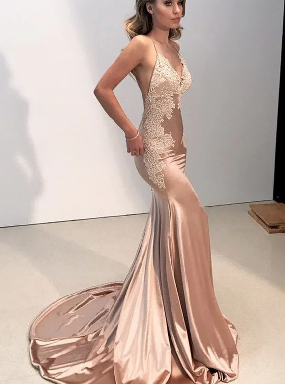 dusty pink long sexy mermaid v neck open back evening dress,B070