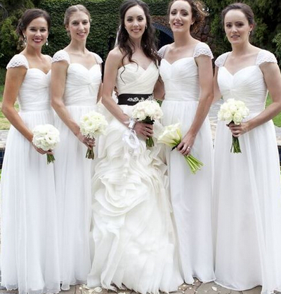 white bridesmaid dress,long bridesmaid dress,cap sleeves bridesmaid dress,cheap bridesmaid dress,BD892