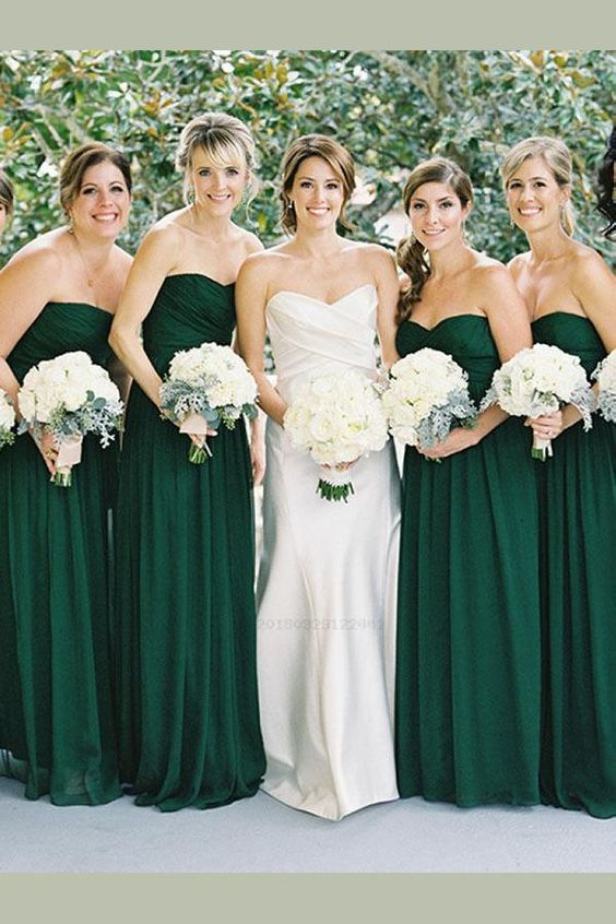 chiffon bridesmaid dress,long bridesmaid dress,sweetheart bridesmaid dress,green bridesmaid dress, BD3624