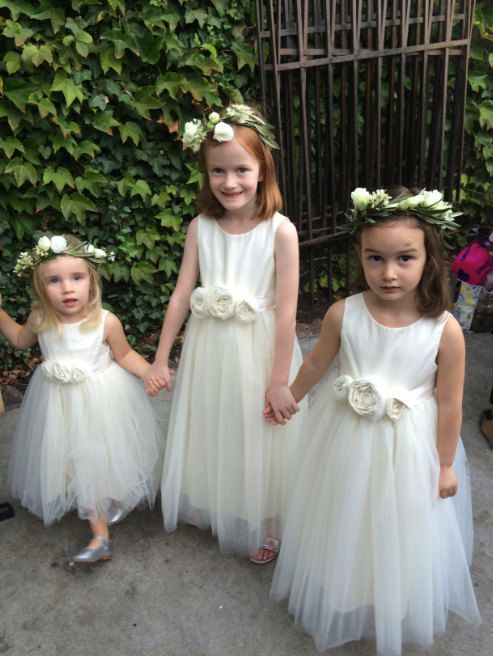 White Little Girl Dress, Wedding Flower Girl Dress With Hand Made Flower, DF05
