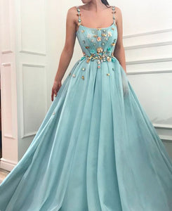 spaghetti straps blue long prom dress with flower appliques, HB2081