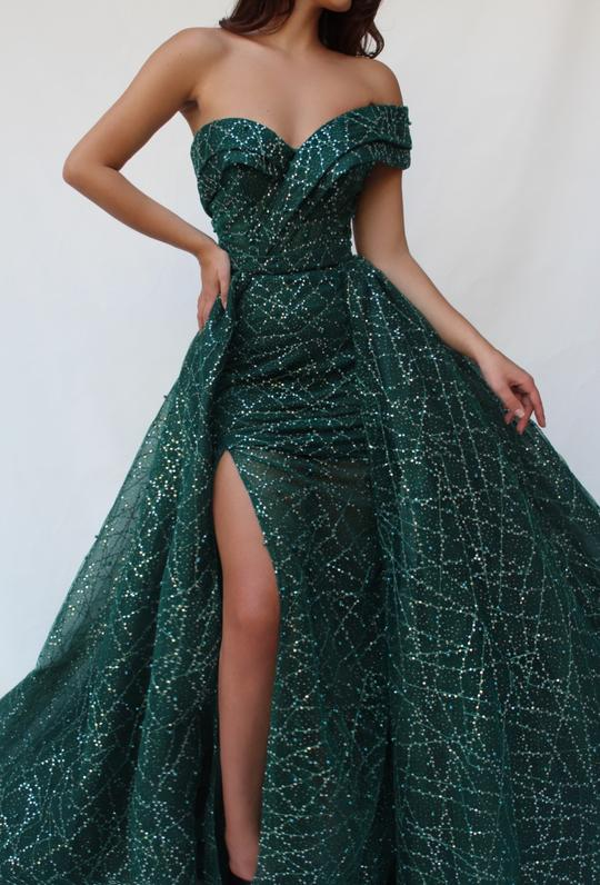 2019 Chic Dark Green Sparkle Strapless Side Slit Long Prom Dress,B066