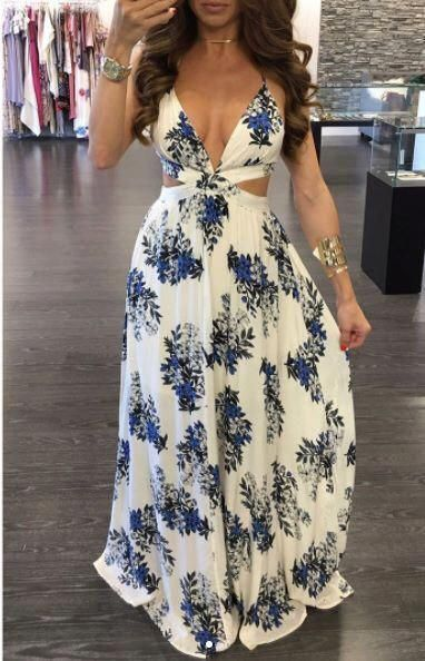sexy deep v-neck floral long evening dress, HB2080