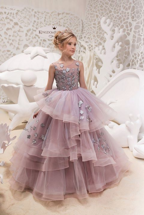 Lilac fluffy Little Girl Dress, Lace Wedding Flower Girl Dress, DF04