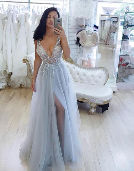 charming light blue tulle beaded v-neck side slit long prom dress,HB105