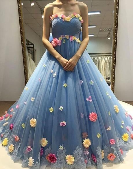 3 D flower appliques strapless blue tulle long prom dress,HB110