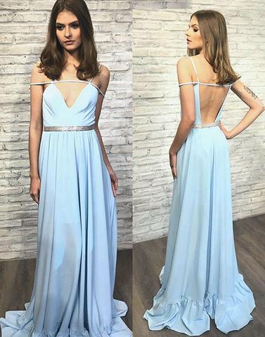 Stylish blue v neck backless long prom dress, blue evening dress,BD3117