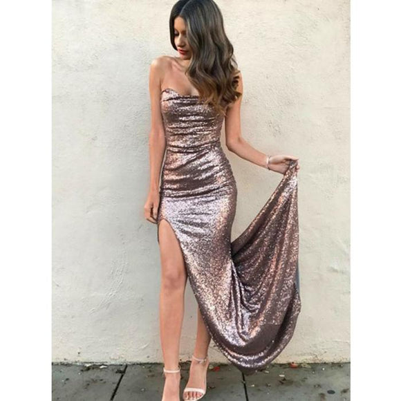 Sexy Strapless Sequin Formal Side Slit Long Evening Dresses,HO91