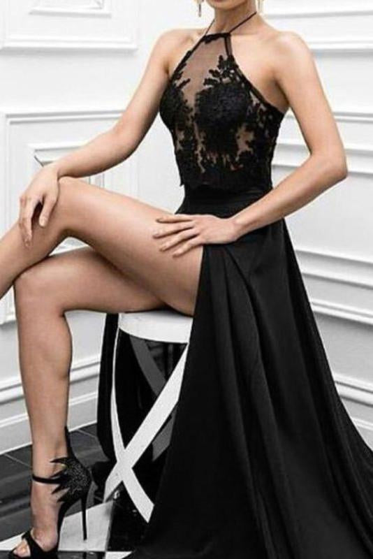 black prom dress, long prom dress, sexy prom dress, side slit prom dress, evening dress 2019, BDD005