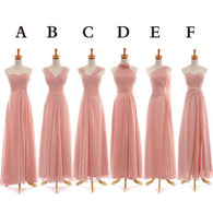 mismatched bridesmaid dress,long bridesmaid dress,pink bridesmaid dress,chiffon bridesmaid dress,BD845  alt=