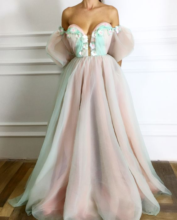 chic off shoulder long prom dress with flower appliques, HB2087