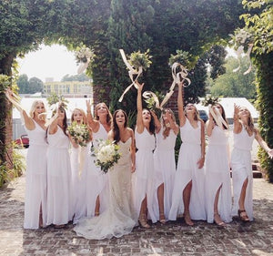 white bridesmaid dress,long bridesmaid dress,chiffon bridesmaid dress,slit bridesmaid dress,BD890