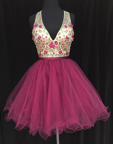 Cute A line v neck applique short prom dress, mini homecoming dress,BD3124