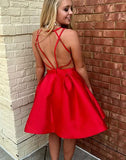 Simple red v neck short prom dress, red evening dress,BD3123