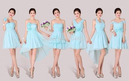 sky blue bridesmaid dress,short bridesmaid dress,mismatched bridesmaid dress,chiffon bridesmaid dress,BD1647