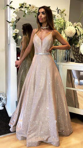 spaghetti straps champagne A-line long prom dress, HB201