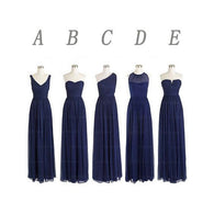 mismatched bridesmaid dress,long bridesmaid dress,chiffon bridesmaid dress,navy bridesmaid dress,BD354  alt=