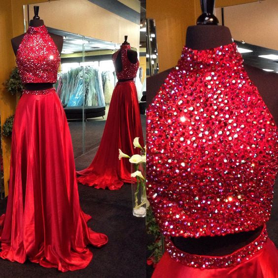red prom dress,long prom dress,two pieces prom dress,beaded prom dress,high neck evening gown,BD2621