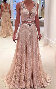 light pink lace two pieces v-neck long prom dress, HB2086