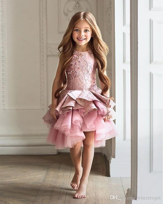 Scoop Pink Little Girl Dress, Lovely Party Dress For Girls, Flower Girl Dress, DF01