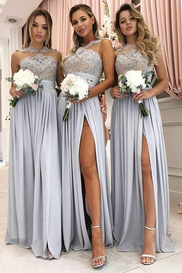 cheap chiffon long bridesmaid dress with side slit,BD14