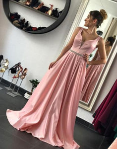 Pink A line v neck long prom dress, evening dress,BD0103