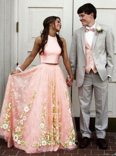 Two Pieces Prom Dress,Long Prom Dress, Pink Prom Dress,Floral Prom Dress ,BD68711