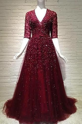 sparkle burgundy long sleeves v-neck A-line long prom dress,HB187