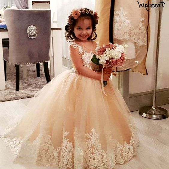 Champagne Little Girl Dress, Party Dress For Girls, Wedding Flower Girl Dress, DF02