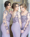elegant bridesmaid dress,long lace sleeves bridesmaid dress,mermaid bridesmaid dress,lavender bridesmaid dress,BD2015