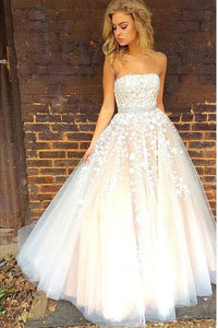 champagne tulle with appliques long strapless prom dress, HB2088