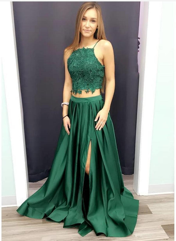 two pieces green long prom dress with side slit,HB198
