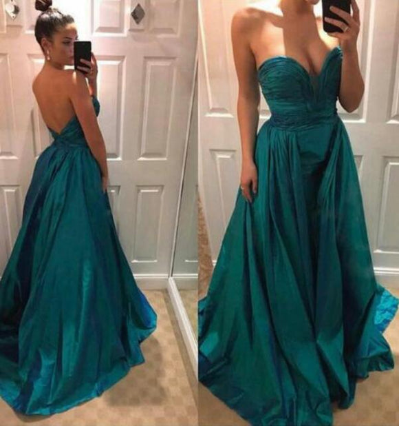 Turquosice sweetheart A-line long simple prom dress,HB56