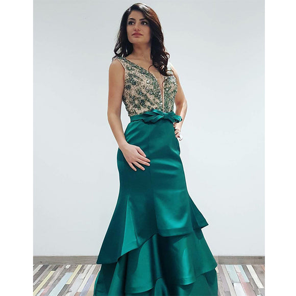 green prom dress, long prom dress, beaded prom dress, formal evening dress 2019, BDD007