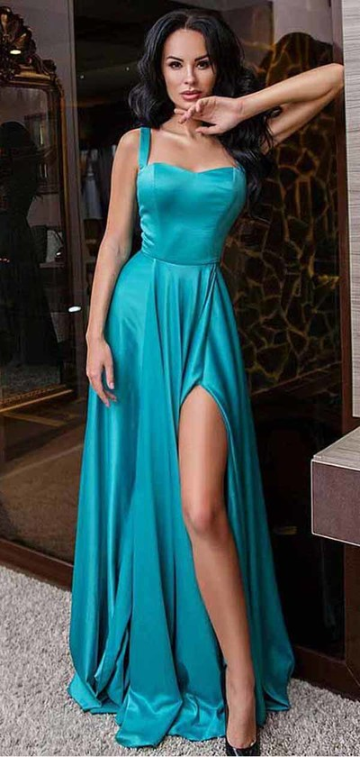 turquoise prom dress, long prom dress, side slit prom dress, formal evening dress 2019, BDD008