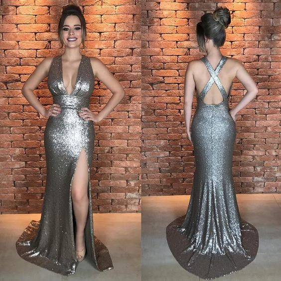 Sequin prom dress,sliver Sparkle Prom Dresses,sexy Prom Dresses,mermaid Prom Dress with slit, BD27323
