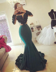 sexy green mermaid long sleeves formal long evening dress,HB112