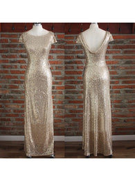 gold bridesmaid dress,Long bridesmaid dress,sequin bridesmaid dress,sparkle bridesmaid dress,BD822  alt=