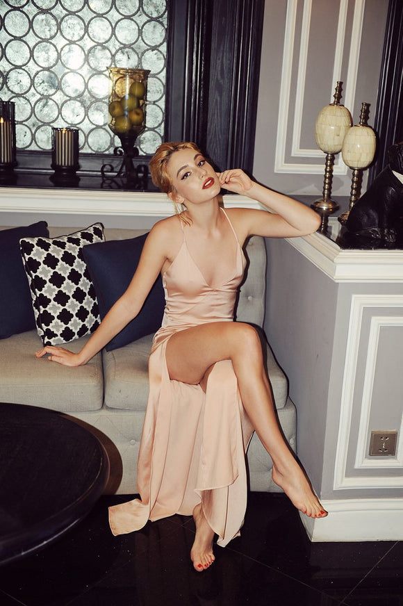 sexy v-neck open back light pink long evening prom dress with side slit,HB54