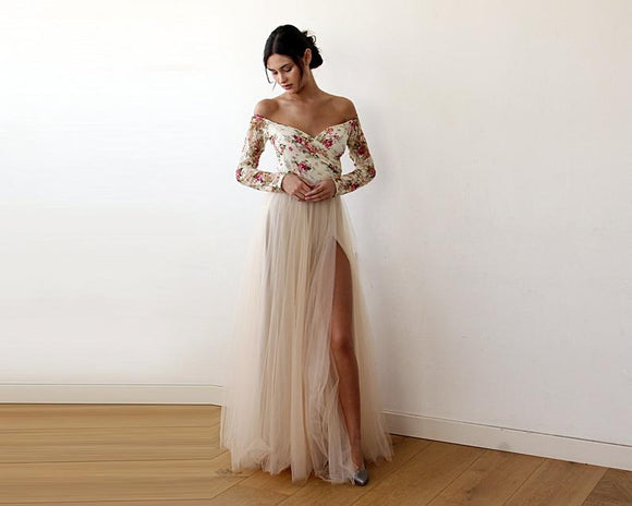 off shoulder lace floor length side slit prom dress,B072