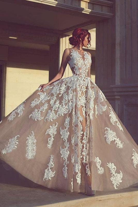 A-line Champagne Tulle With Appliques Long Prom Dresses, Chic 2019 Ball Gown,BO12
