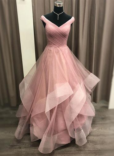 chic sweet 16 light pink tulle fluffy princess long prom dress ball gown,BO82