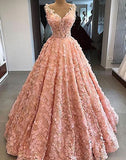 elegant A-line pink lace appliques long prom dress 2019 ball gown,HB108