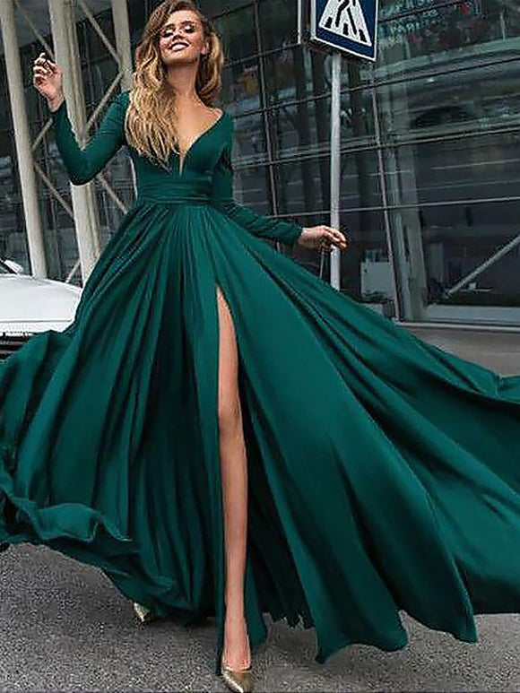 dark green prom dress, long prom dress, chic prom dress, long sleeves prom dress with side slit, BD5686
