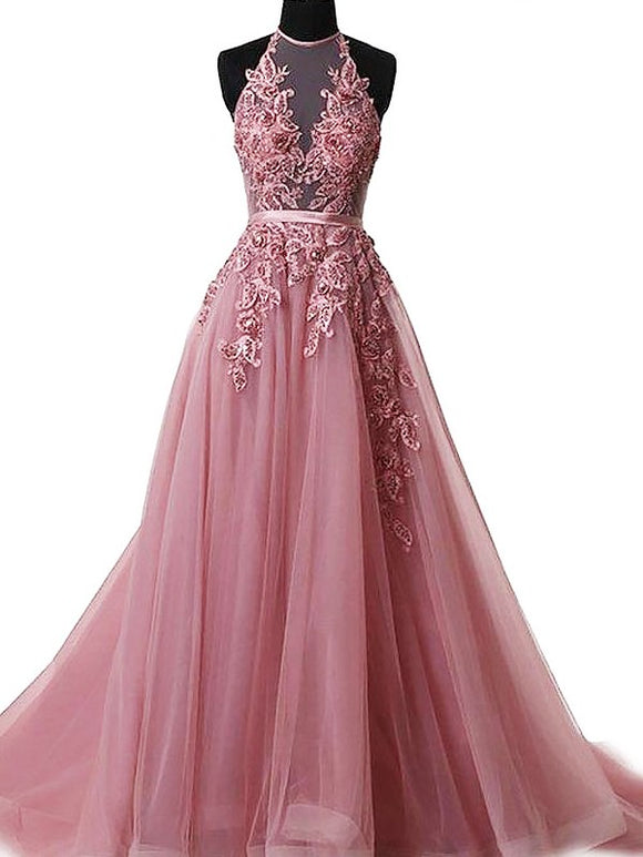 pink prom dress, long prom dress, halter prom dress, A-line prom dress, elegant prom dress, BD5687