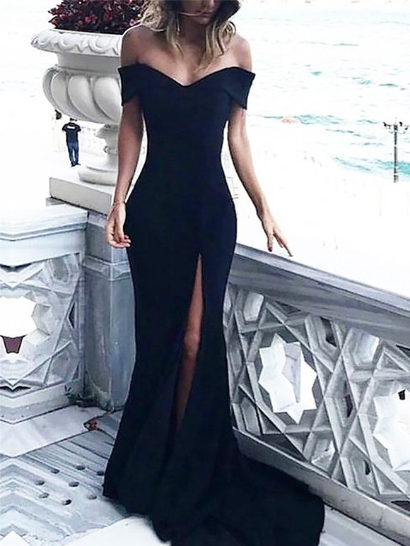 off shoulder prom dress, long prom dress, black prom dress, formal prom dress, elegant prom dress, BD5688
