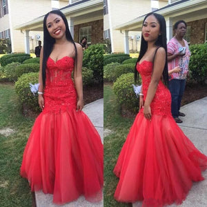 Mermaid Sweetheart Tulle Floor-Length Sleeveless Lace Red Prom Dresses,BD1702