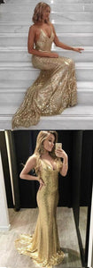Mermaid Style Straps Sweep Train Backless Gold Sequined Prom Dress