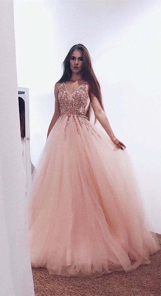Blush pink Prom Dresses,Charming Prom Dresses,V-neck Prom Dress,Long Prom Dress, 2019 Prom Dress,BD46890